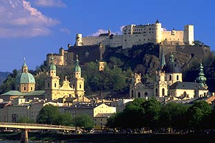 City of Salzburg with fortress.