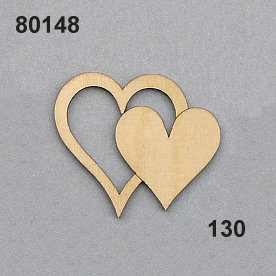 Wooden heart twice flat