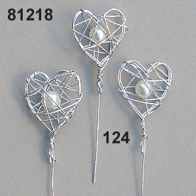 Wire-heart bead o/stem
